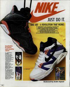 """Antiguo anuncio Nike """"Just Do It"""" con zapatillas Jordan y André Agassi"""