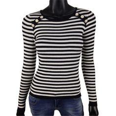 Gestreepte rib trui in wit met zwart of blauw van Kaylla voor maar  20-   #Beverwijk #Heemskerk #IJmuiden #Velsen #fashion #happy #follow #cute #followme #like #instacool #nofilter #style #sweet #fashionable #hot  #webshop #fashioncheque #vvv #nieuwecollectie