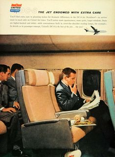 1960 Ad DC-8 Interior United Airlines. Mad Men style view. He is reading his newspaper with the DC-8's unique over the shoulder reading light.