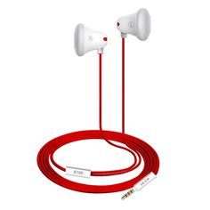 Mrice E100 Universal Lightweight Stereo Earphone Earbuds High-quality Sound Headset with Red Triangle Tangle- Free Cable for iPhone iPad Android Smartphones