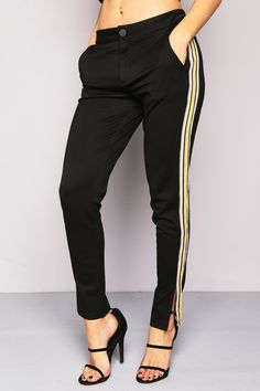 Black Side Striped Tracksuit Pants  - Activewear - Clothing  | LASULA