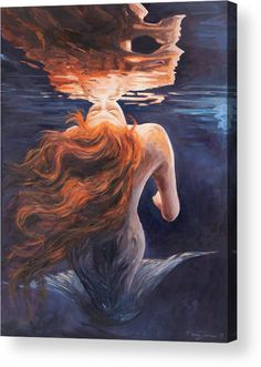 Mermaid Acrylic Print featuring the painting A Trick Of The Light - Love Is Illusion by Marco Busoni