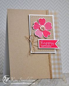 Great layout. Some wonderful elements like the stitched rectangle. Twine going through the banner. Nice soft print on right side. Nice color combo. Stamps: Stampin' Up Flower Shop, Gingham wheel, Banner Greetings. Accessories: Stampin' Up Pansy Punch, Lil' Inkers Stitched Rectangles
