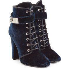 Giuseppe Zanotti Velvet Ankle Boots (19 800 UAH) ❤ liked on Polyvore featuring shoes, boots, ankle booties, обувь, blue, blue ankle boots, leather lace up booties, short lace up boots, bootie boots and blue boots