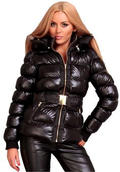This outfit is pure sex! Nylons, Down Suit, Down Puffer Coat, Puffy Jacket, Rain Wear, Jackets For Women, Leather Jacket, Womens Fashion, Cold
