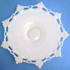 Westmoreland Milk Glass Ring Petal Footed Cake Plate Lace Edge | eBay