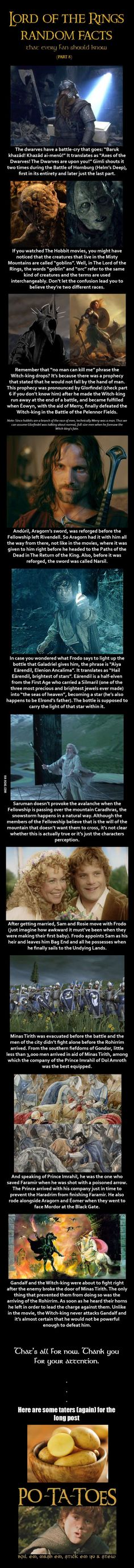 Here are some Lord of the Rings random facts (Part 8)