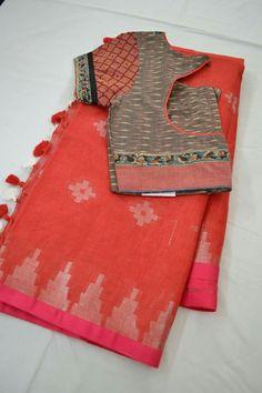 Cotton Saree Blouse Designs, Fancy Blouse Designs, Saree Blouse Patterns, Blouse Models, Jamdani Saree, Sarees, Blouse Styles, Sumo, Hand Embroidery Dress