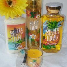 Bath & Body Works 4pc. Set BBW 4pc. Set in Golden Pineapple Luau All New  Body Wash Body Spray Body Lotion Mini Candle Bath & Body Works Other