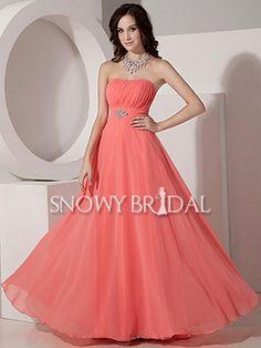 Empire Peach Long Chiffon Strapless A-Line Formal Bridesmaid Dress - US$ 93.99 - Style B1144 - Snowy Bridal