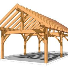 A DIY framing plan and blueprints that can be an open pergola or gazebo. The timber frame construction can be enclosed for a shed or workshop. Backyard Pavilion, Outdoor Pavilion, Backyard Patio, Backyard Landscaping, Roof Plan, Diy Pergola, Pergola Ideas, Cheap Pergola, Patio Design