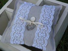 Ring Bearer Pillow, country, rustic, shabby chic, beach wedding pillow. $14.00, via Etsy.