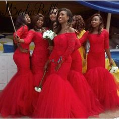 Long Sleeve Bridesmaid Dresses Sexy Red Lace African Mermaid Evening Gowns Party Dress Robe De Demoiselle D'honneur Taille Plus