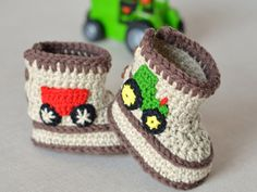 Baby Boy Booties CROCHET PATTERN easy instructions for how to crochet Booties with Tractors in 3 Sizes Digital File PDF improving beginner - Örgü Modelleri ve Örgü Örnekleri Booties Crochet, Crochet Baby Boots, Crochet Shoes, Boy Crochet, Crochet Slippers, Crochet Baby Blanket Beginner, Baby Knitting, Crochet For Beginners, Crochet For Kids