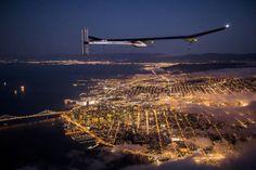 Solar Impulse s HB-SIA prototype flies over the San Francisco Bay, April 23, 2013.