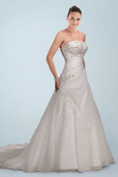 Fabulous Satin Strapless A-Line Bridal Dress with Shimmering Beaded Applique