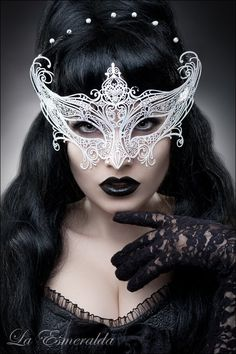 silver filigree masquerade mask, pearl headband, black lace gloves