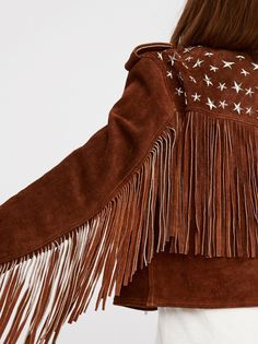 Understated Leather Paris Texas Crop Fringe Jacket in Saddle at Free People