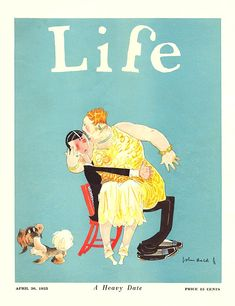 """Life 1925-04-30  Young chap seems non-plussed as his girl is too fat: """"A Heavy Date."""" Fat -is- a feminist issue.     Artist: John Held, Jr.  Source: Tamie Axelton  Restoration by: magscanner"""