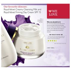 Royal Velvet Firming Day Cream SPF 15 - A new and advanced Day Cream with a rich, sensual formula that firms, strengthens and intensely hydrates the skin. Enriched with the unique Black Iris Infusion, it leaves your skin feeling softer, firmer and visibly younger for longer. SPF 15.