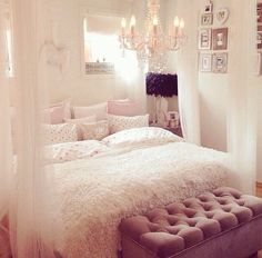 Bedroom: White colour scheme, girly / romantic feel, crystal chandelier, comfy white bedspread