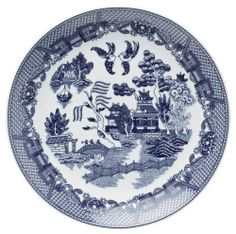 HIC Blue Willow 12-1/4-Inch Buffet Plate by Harold Import Company, Inc.. $32.35. Made of porcelain. Blue Willow design; stencil etched by hand and fired. Buffet plate measures 12-1/4-inch in diameter. One buffet plate. To maintain the lovely finish, do not place in microwave or oven; hand wash recommended. This beautiful 12-1/4-inch porcelain buffet plate has the classic Blue Willow design. The Blue Willow design depicts the charming and legendary old Chinese Blue Willow ...