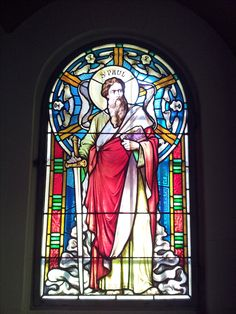 Stained glass window in the Catholic church of Caux. Swiss Riviera and Pays d'Enhaut
