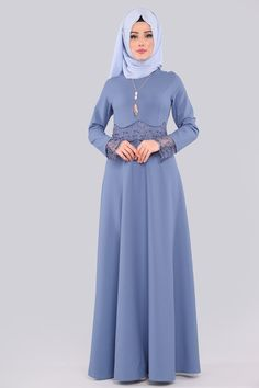 ELBİSE Danteli İncili Tesettür Elbise MDS2043-S Mavi Islamic Fashion, Hijab Dress, Hijabs, The Dress, Hijab Fashion, Queen, Store, Collection, Dresses