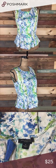 "Ann Taylor Sleeveless Watercolor Peplum Top - 6 Ann Taylor Sleeveless Watercolor Peplum Top - 6  Lightweight and yet structured pleated peplum top. Zip back.  69%  Cotton /27% Nylon / 4% Spandex Bust (laying flat): 18.5"" Length: 23"" Waist (laying flat): 16.5""  #woodsnap #peplum #officechic #watercolor #bright #bold #white #blue #green Ann Taylor Tops Blouses"