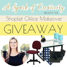 Looking for office inspiration? Win one -- we're working with Brittany from A Spark of Creativity to present the #Shoplet #Office #Makeover #Giveaway! Open 11/12/15 to 12/03/15; Visit our blog for details on how to enter.