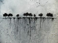 Abstract Painting of Trees on the Horizon Heavily Textured 24