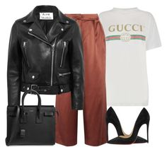 """""""Untitled #4557"""" by ericacavaco12 ❤ liked on Polyvore featuring Gucci, TIBI, Acne Studios, Christian Louboutin and Yves Saint Laurent"""