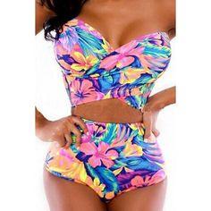 Stylish Floral Print Strapless Bikini Set For Women