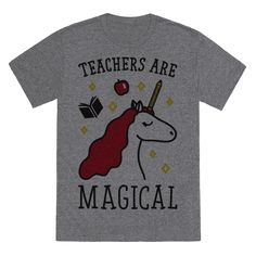 "Show off your mystical, magical, educational powers with this ""Teachers Are Magical"" teacher design! Featuring a unicorn with a pencil horn, apple, and book! Perfect for a great teacher gift, teacher appreciation, gifts for teachers, teachers, teacher quotes, and teacher humor."