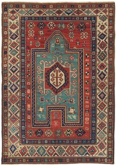 FACHRALO KAZAK, Southern Central Caucasian, 4ft 3in x 6ft 2in, 3rd Quarter, 19th Century. With its striking clarity of line and perfectly harmonious proportions and colors, this one-in-the-world connoisseur-quality Caucasian prayer rug strikes an ideal balance between order and spontaneity. Its ivory main border is replete with endless creative variation, while its floral guard borders bring a quiet symmetry that supports the design.