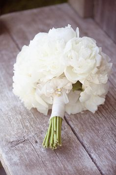 White Peonies Wedding Bouquet