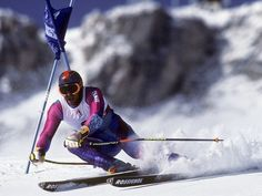 Two-time giant slalom gold-medal winner Alberto Tomba tackles the slopes in Albertville, France—just 40 miles from Chamonix, the site of the first winter games. World Cup Skiing, Youth Olympic Games, Gold Medal Winners, Ski Racing, Ski Posters, Alpine Skiing, Vintage Ski, Winter Games, Summer Winter