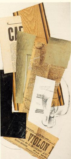 Braque, Georges, Glass, Carafe and Newspapers, 1914, Pasted papers, chalk and charcoal on cardboard