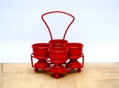 Egg Cup Set Vintage Red Enamel egg cups set