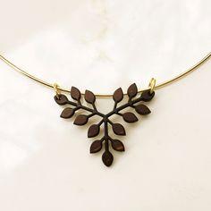Wooden Branch Leaf Necklace