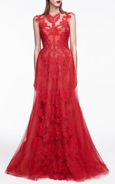Rouge Sleeveless Gown With Illusion Neckline by Monique Lhuillier for Preorder on Moda Operandi