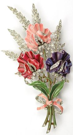 Trifari Alfred Philippe Rhinestone Enamel Triple Floral Spray with Bow Pin