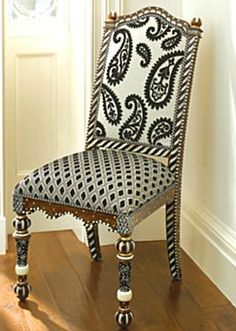 1 Beautiful Mackenzie Childs Black White Upholstered Dining Chair | eBay