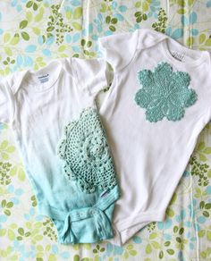 V and Co.: V and Co: how to: appliqué doilies onto a onesie....so cute!!