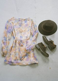 Redesigned vintage dress by Community Service, vintage suede boots and felt hat, and a Rhys May necklace.
