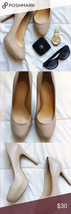 Nude Pumps🎀 Never worn! Leather pumps! 4 inch heel Gianni Bini Shoes Heels