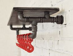 DIY Industrial pipe rack ideas – creative storage space in every room - Decoration 4 Diy Pipe Shelves, Industrial Pipe Shelves, Wooden Shelves, Pipe Shelving, Shelving Design, Shelf Design, Shelving Ideas, Shelf Ideas, Pipe Furniture