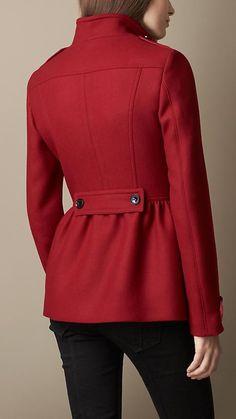 Wool Blend Twill Peplum Coat | Burberry
