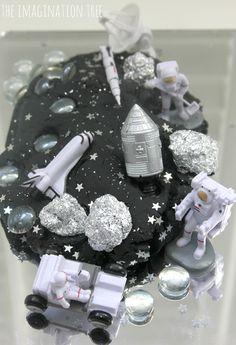 Space galaxy play dough small world I love the idea of tinfoil rocks!