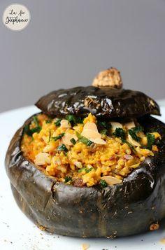 Délicieuse courge farcie, riz sauvage et PST parfumés au curry! - La Fée Stéphanie